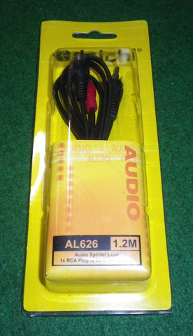 Audio Lead - 1 X RCA Plug to 2 X RCA Sockets 1.2mtrs - Part # AL626