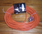 Round Orange 3Wire 15Amp Vacuum Mains Power Cord & Plug 15mtr - Part # CR1515