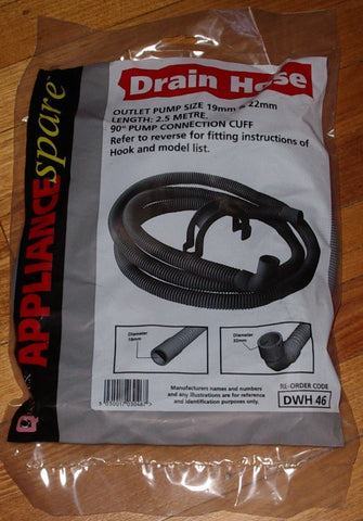 Universal 2.5mtr Dishwasher Outlet Hose with Rightangled End. - Part # DWH046