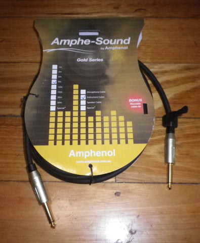 Amphenol Gold 9metre Audio Cable 2 X 6.3mm Mono Phone Plugs - Part # GD3030B009