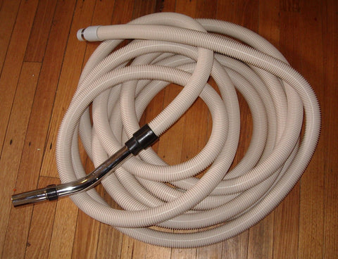 12Mtr Beige Ducted Vacuum Hose with 32mm Bent End Handle - Part # HBGCOM12