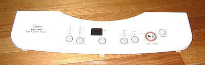 Used Midea AW52-9906 Washer Control Panel Escutcheon with Decal