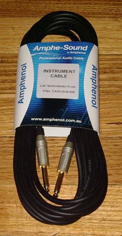 Amphenol 6metre Audio Cable 2 X 6.3mm Mono Phone Plugs - Part # LA2036