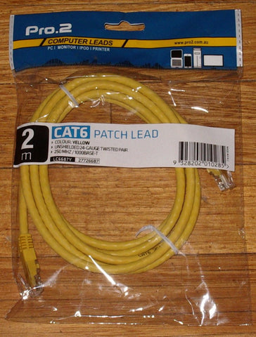 Computer Lead - CAT6 RJ45 to RJ45 Network 2metre Yellow - Part # LC6687Y