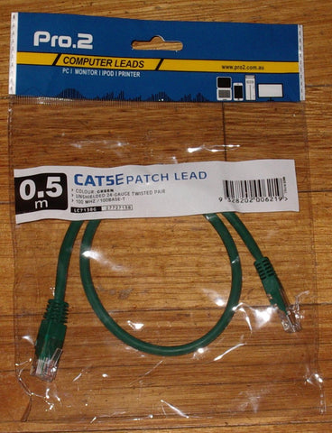 Computer Lead - CAT5E RJ45 to RJ45 Network 0.5metre Green - Part # LC7138G