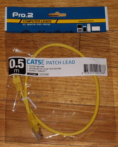 Computer Lead - CAT5E RJ45 to RJ45 Network 0.5metre Yellow - Part # LC7148Y