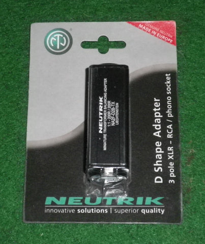 Audio Adaptor - 3pin Balanced Female XLR to Unbalanced RCA - Part # NA2F-D2B-TX