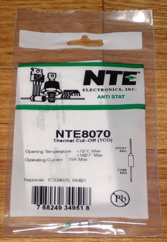 72degreeC 15amp Microtemp Thermal Fuse - Part # NTE8070