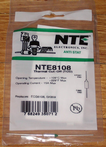 109degreeC 15amp Microtemp Thermal Fuse - Part # NTE8108