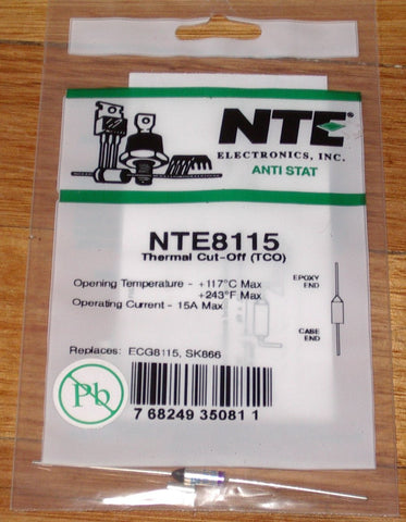 117degreeC 15amp Microtemp Thermal Fuse - Part # NTE8115