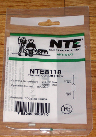 121degreeC 15amp Microtemp Thermal Fuse - Part # NTE8118
