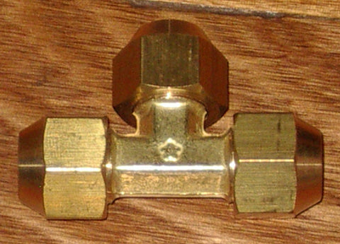 "Brass 1/2"" SAE Flare T-Union With Flare Nuts - Part # RF712KIT"