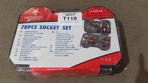 78PCS Assorted Hand Tools & Socket Set in Carry Case - Part # T119