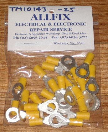 Yellow Insulated 8mm Ring Crimp Terminals (Pkt 25) - Part # TM10143-25