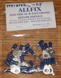 Blue Insulated 6.4mm Ring Crimp Terminals (Pkt 25) - Part # TM10122-25