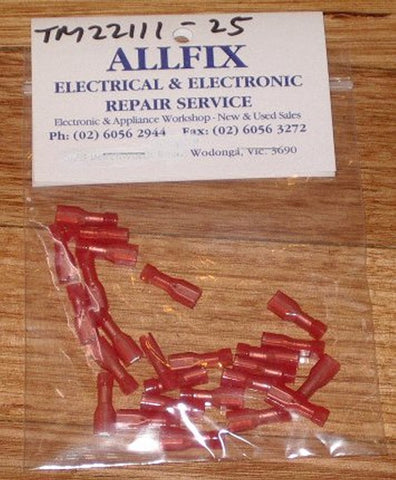 Red Insulated Female 2.8mm Spade Terminals (Pkt 25) - Part # TM22111-25