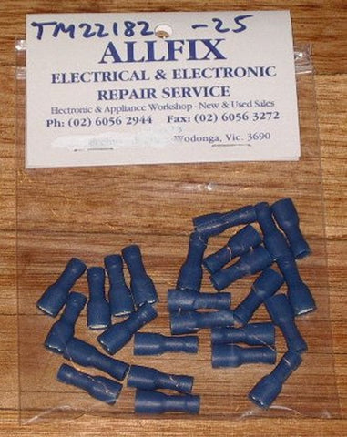 Blue Insulated Female 4.7mm Spade Terminals (Pkt 25) - Part # TM22182-25