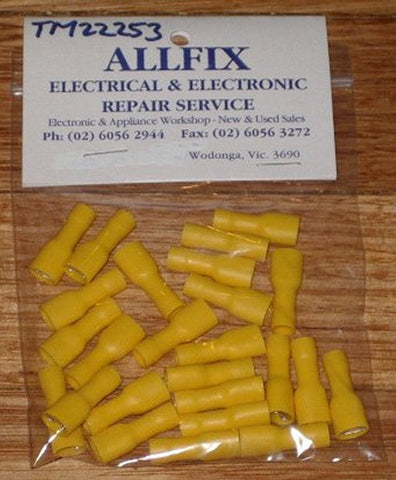 Yellow Insulated Female 6.4mm Spade Terminals (Pkt 25) - Part # TM22253-25