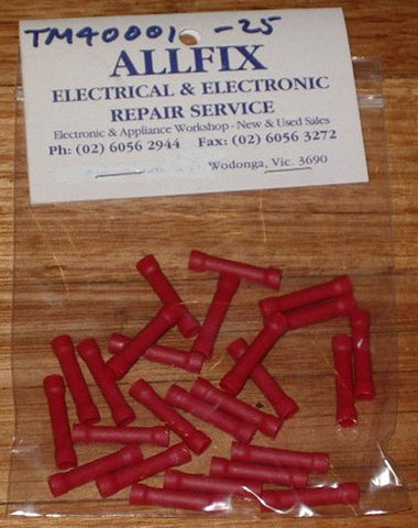 Red Insulated Inline Splice Crimp Terminals (Pkt 25) - Part # TM40001-25