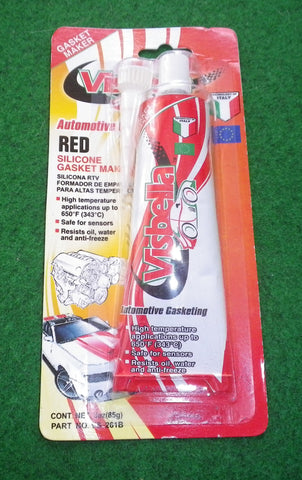 High temperature (up to 650˚F) Red Silicone Sealant 85gm. Part # VS-261B
