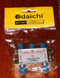 Dai-ichi 4Way F-Connector Type Coax Satellite Splitter - Part No. SAT1801