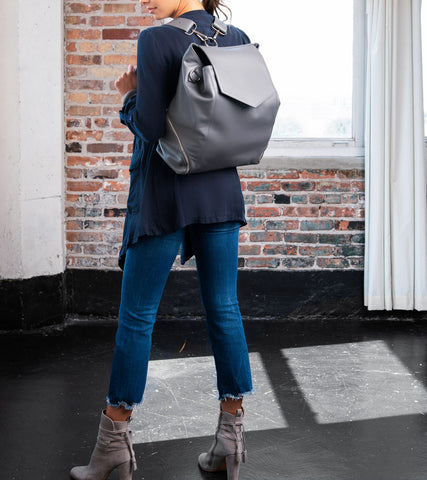 grey leather convertible backpack purse