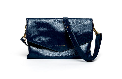 navy leather foldover crossbody bag