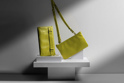 Yellow Italian Leather clutch crossbody