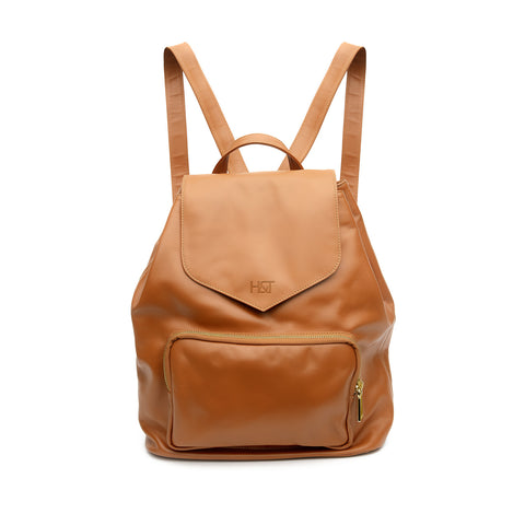 caramel small leather backpack