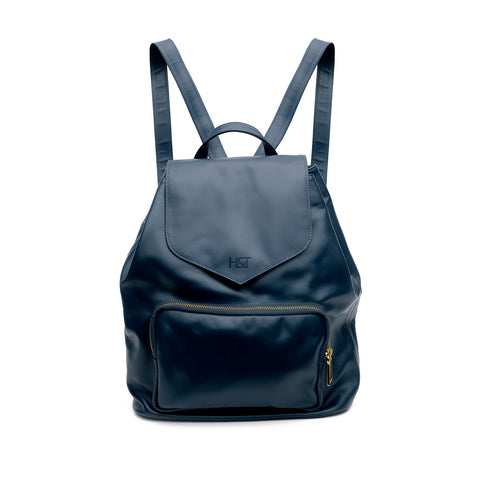 navy small leather backpack