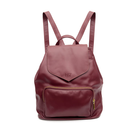 burgundy small leather backpack