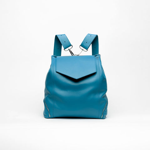 light blue leather backpack purse