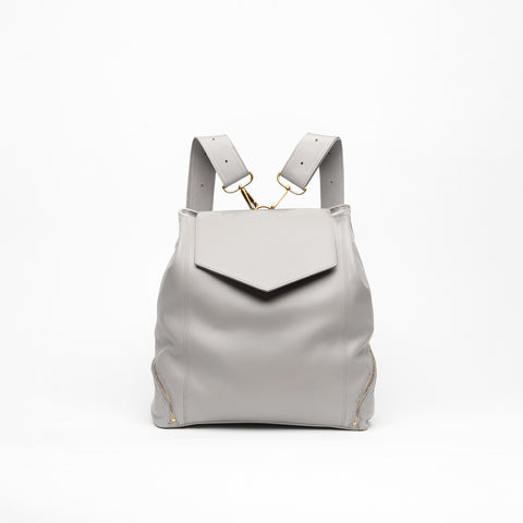 cream leather backpack purse