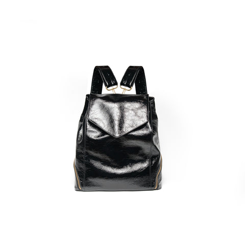 black patent leather backpack purse