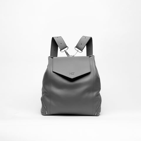gray leather backpack purse