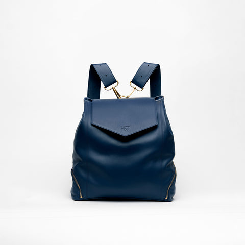 navy leather backpack purse