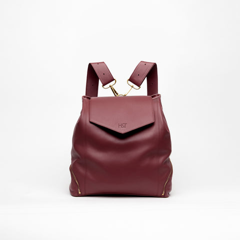 burgundy leather backpack purse