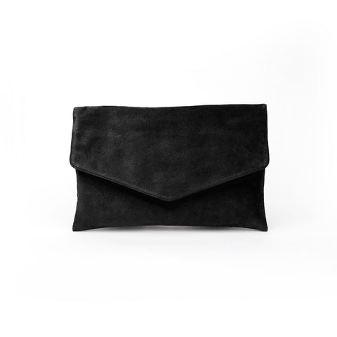 black suede envelope crossbody bag