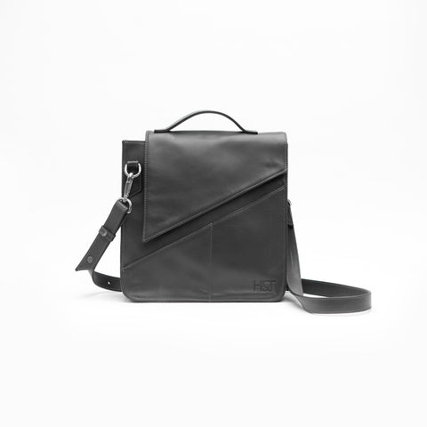 gray structured crossbody bag