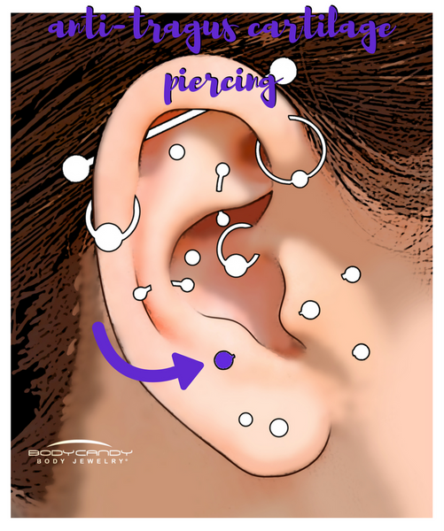 Encyclopedia of Body Piercings: Anti-Tragus Cartilage Piercing