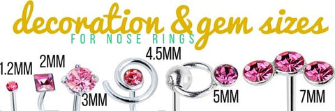 nose ring gem size setting