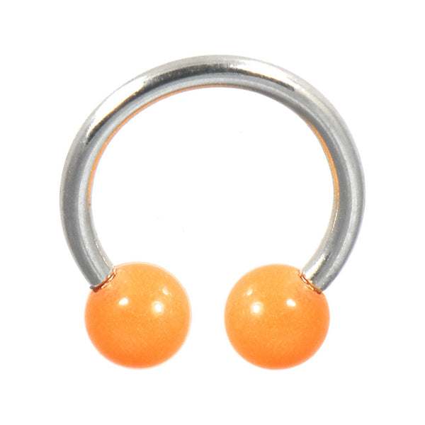 Orange Glow-n-Dark Horseshoe Circular Barbell