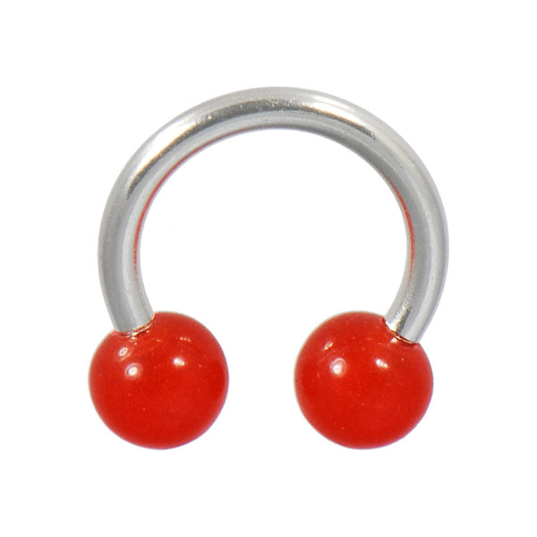 Red Bold Horseshoe Circular Barbell