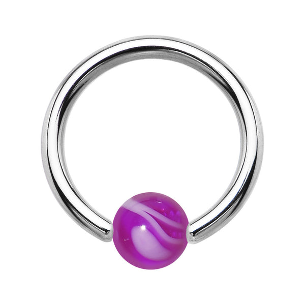 14 Gauge Purple Marble BCR Captive Ring