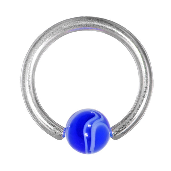 14 Gauge Blue Marble BCR Captive Ring