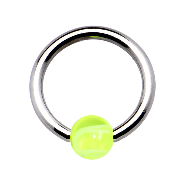 14 Gauge Acrylic GREEN Marble BCR Captive Ring
