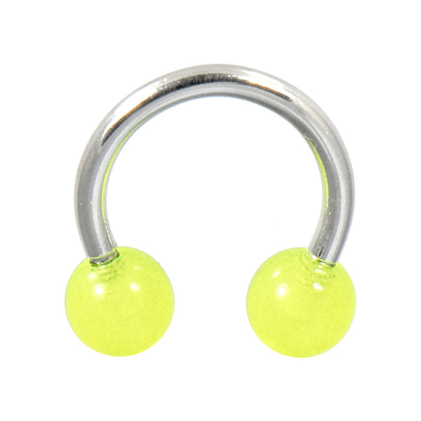 Green Glow-n-Dark Horseshoe Circular Barbell