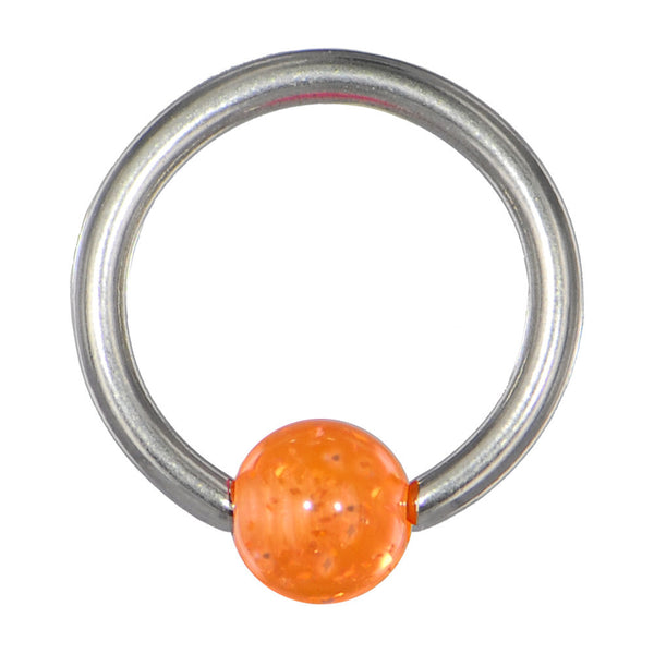 14 Gauge ORANGE Acrylic Glitter Ball BCR Captive Ring
