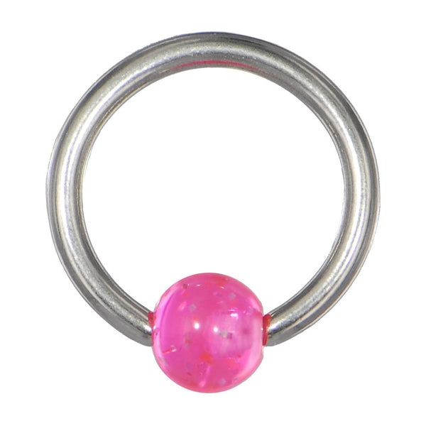 14 gauge Pink Glitter BCR Captive Ring