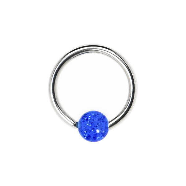 14 gauge Electric Blue Glitter BCR Captive Ring
